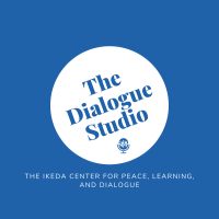 Podcast logo with blue background, a white circle in the middle, and text that says The Dialogue Studio