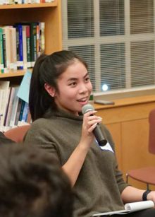 Participant speaking at January 2020 Dialogue Nights