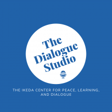 Logo with a blue background and white circle saying The Dialogue Studio in the middle