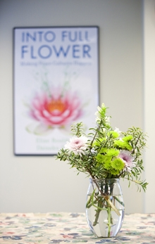 Flowers and poster